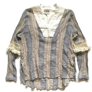 Sea New York Boho Long Sleeve Tunic Top Shirt 8 M